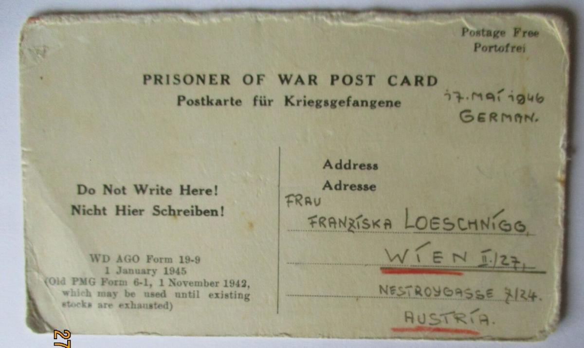 USA Italien Kriegsgefangenenpost POW Camp Naples Italy US PWE (41504) 0