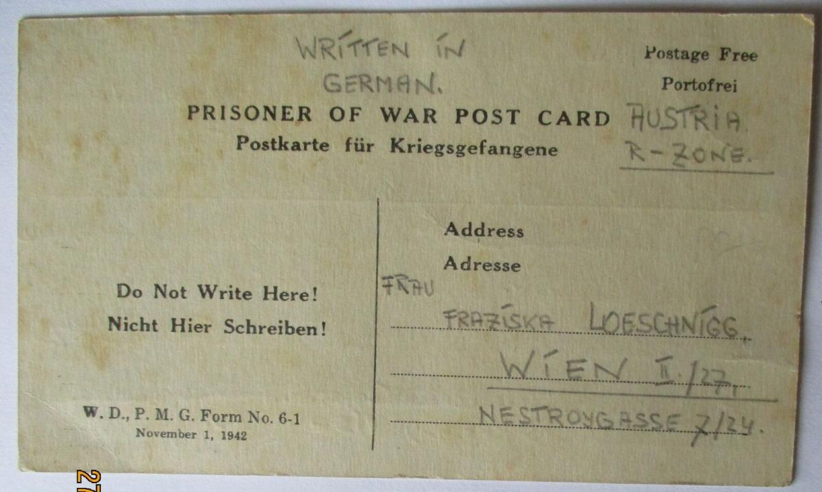 USA Italien Kriegsgefangenenpost POW Camp Pisa Italy US PWE 339 (41501) 0