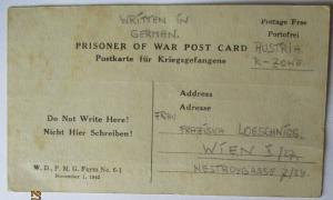 USA Italien Kriegsgefangenenpost POW Camp Pisa Italy US PWE 339 (41501)