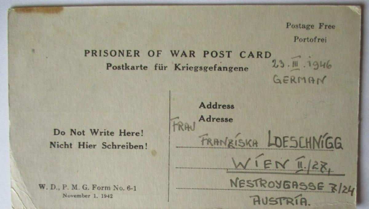 USA Italien Kriegsgefangenenpost POW Camp Naples Italy 1946 US PWE (39823) 0