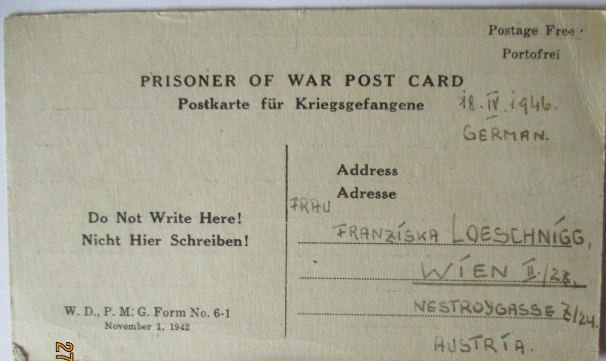 USA Italien Kriegsgefangenenpost POW Camp Naples Italy 1946 US PWE (39816) 0