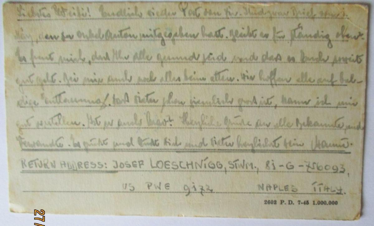 USA Italien Kriegsgefangenenpost POW Camp Naples Italy 1946 US PWE (39816) 1