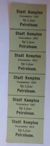 Lebensmittelkarten, Stadt Kempten  Petroleum Dezember 1917 ♥ (X60)