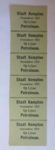 Lebensmittelkarten, Stadt Kempten  Petroleum Dezember 1917 ♥ (X59)