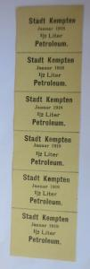 Lebensmittelkarten, Stadt Kempten  Petroleum Januar 1918 ♥ (X58)
