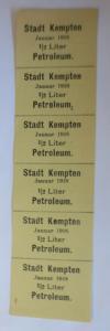 Lebensmittelkarten, Stadt Kempten  Petroleum Januar 1918 ♥ (X57)