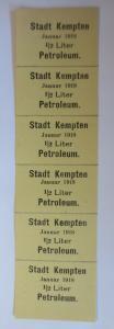 Lebensmittelkarten, Stadt Kempten  Petroleum Januar 1918 ♥ (X56)