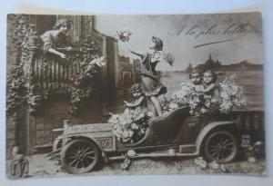 Neujahr, Auto, Oldtimer, Kinder, Amor, Engel, Blumen,   1910 ♥ (41183)