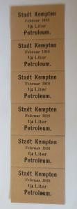 Lebensmittelkarten, Stadt Kempten  Petroleum Februar 1918 ♥ (X54)