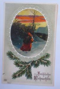 Weihnachten, Weihnachtsmann, Tanne, Haus, Abendrot, 1919, Prägekarte ♥ (67144)