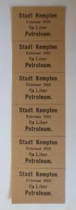 Lebensmittelkarten, Stadt Kempten  Petroleum Februar 1918 ♥ (X52)