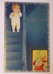 Weihnachten, Weihnachtsbaum, Weihnachtsmann, 1907, Prägekarte♥ (67143)