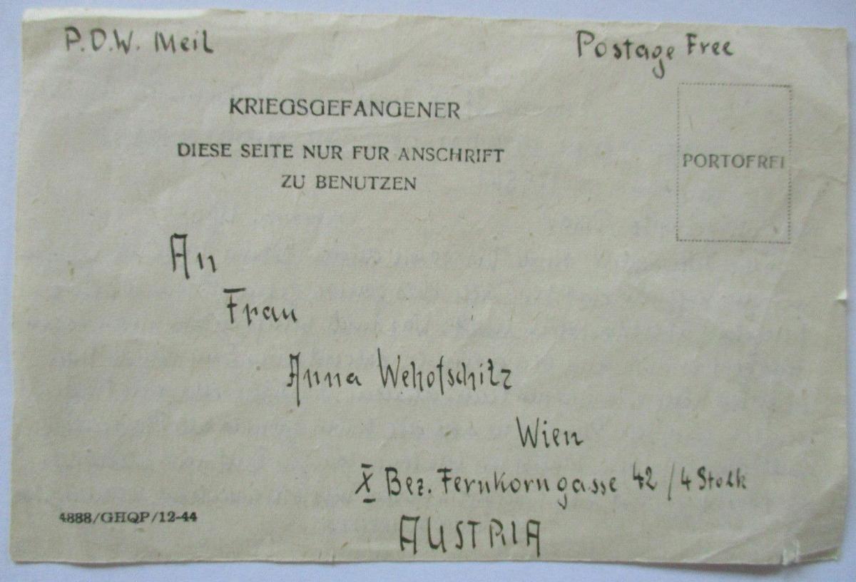 Großbritannien POW Mail Middle East nach Wien Österreich 0