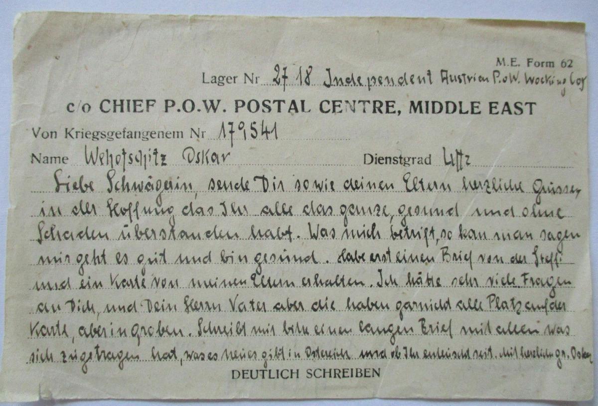 Großbritannien POW Mail Middle East nach Wien Österreich 1
