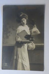 Neujahr, Frauen, Mode, Münzen, Kleeblatt,   1909 ♥ (32120)