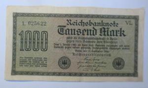 Geldschein, Reichsbanknote Tausend Mark  15. September 1922, VL.. ♥