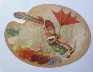 Kaufmannsbilder, Oblaten, Kinder, Mode Schirm,  Palette, 1889   ♥