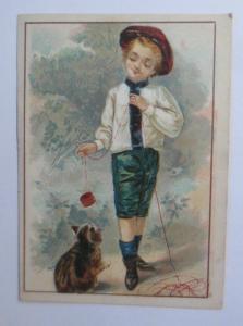 Kaufmannsbilder, Kinder, Katzen, Spielen,   1900 ♥