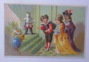 Kaufmannsbilder, Kinder, Katzen, Der gestiefelte Kater,  1900 ♥
