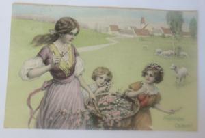 Ostern, Frauen, Kinder, Mode, Blumen, Schafe, 1912, Munk Vienne ♥ (57369)