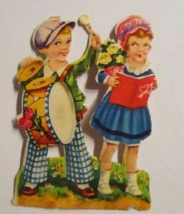 Oblaten, Kinder, Lesen, Musizieren,    1900,   6 cm x 4 cm  ♥