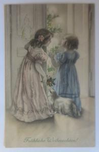 Weihnachten, Kinder, Bescherung, Hund, Weihnachtsbaum,1912, Munk Vienne ♥(64374)