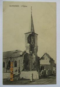 Belgien Bonnines zerstörte Kirche, Feldpost 1915 nach Speyer (22803)