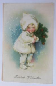 Weihnachten, Kinder, Mode, Mantel, Mütze, Tannenzweige,1924 ♥ (38309)