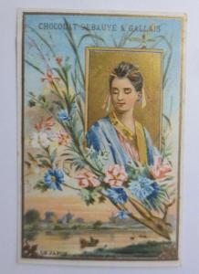 Kaufmannsbilder, Chocolat - Eclair, Frauen, Mode, Blumen,  1889 ♥