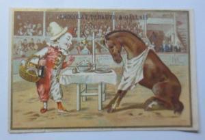 Kaufmannsbilder, Cacao, Chocolat Eclair,  Harlekin, Pferd, Zirkus, 1889 ♥