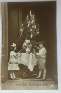 Weihnachten, Kinder, Bescherung, Spielzeug, Weihnachtsbaum,1914 ♥ (13392)
