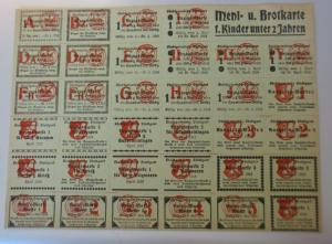 Lebensmittelkarten, Stadt Stuttgart,  Brot, Mehl,  1916 ♥ (X181)