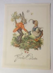 Ostern, Personifiziert, Osterhase, Ente, Blumen,    1945 ♥ (70977)