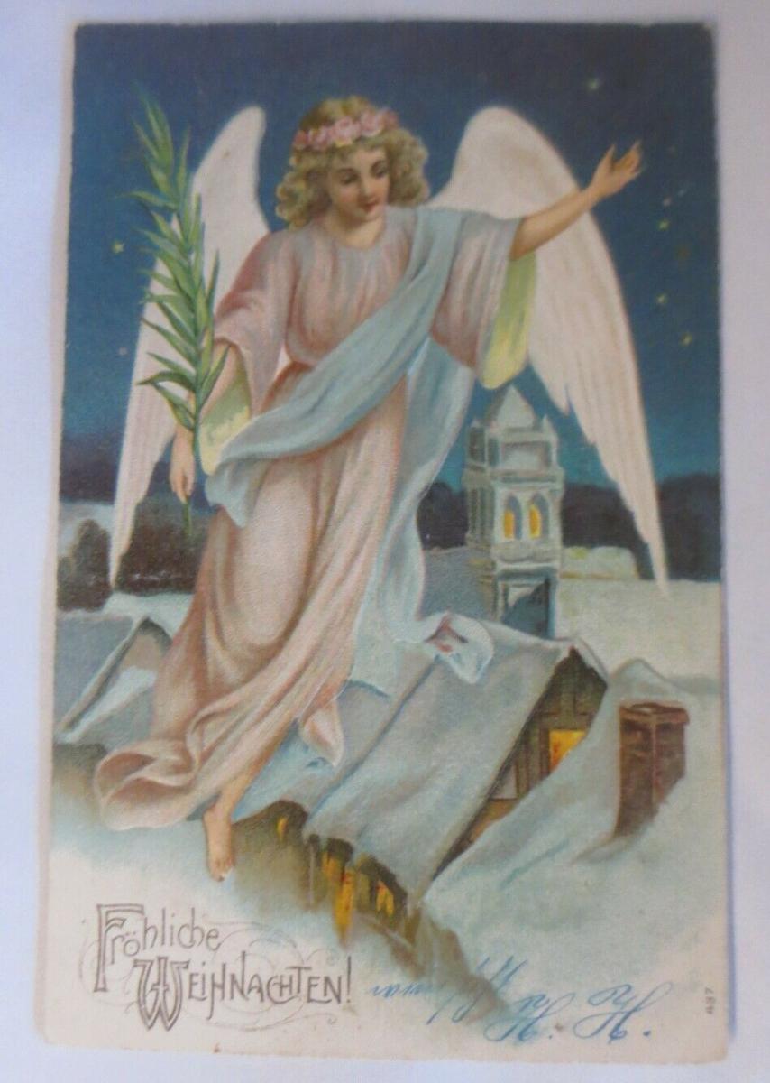 Weihnachten, Engel, Palmenzweig,  1905, Prägekarte ♥ (64133) 0