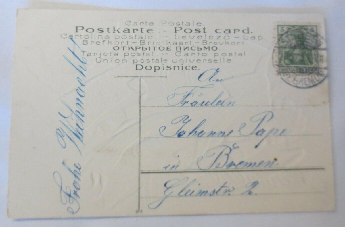 Weihnachten, Engel, Palmenzweig,  1905, Prägekarte ♥ (64133) 1