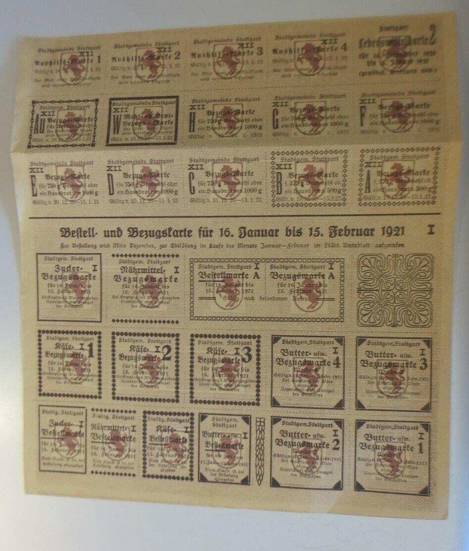 Lebensmittelkarten, Stadt Stuttgart, Käse, Butter, Zucker, 1921 ♥ (X178) 0