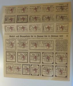 Lebensmittelkarten, Stadt Stuttgart, Käse, Butter, Zucker, 1921 ♥ (X178)