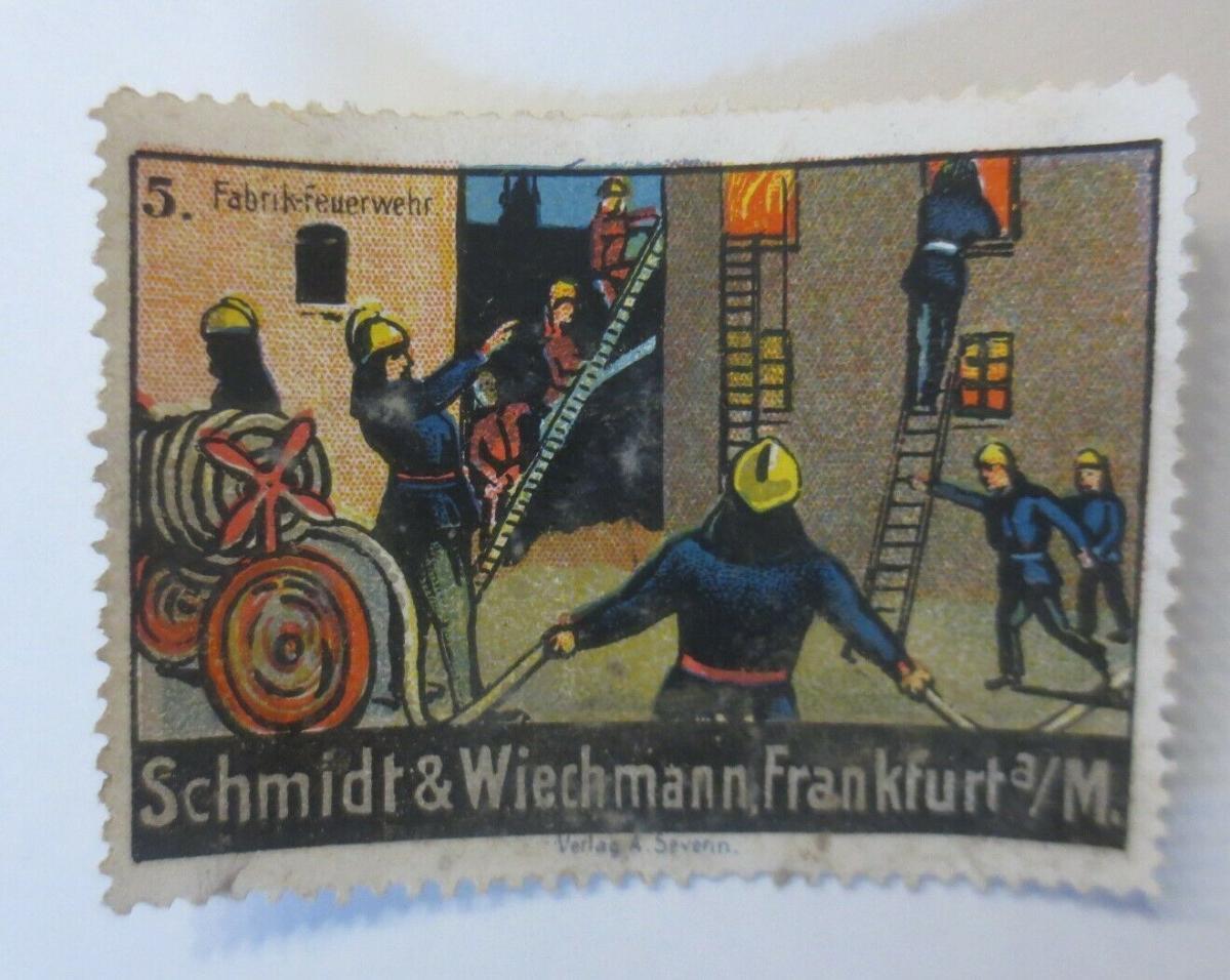 Vignetten Fabrik Feuerwehr Schmidt & Wiechmann Frankfurt a. M. 1900 ♥ (23982) 0