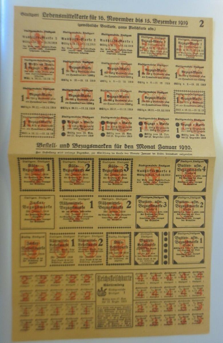 Lebensmittelkarten, Stadt Stuttgart Käse, Butter, Zucker, 1919 ♥ (X177) 0