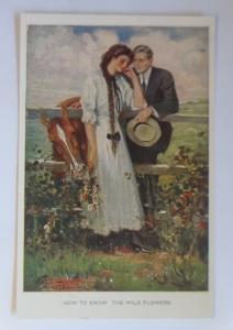 Künstlerkarte, Frauen, Männer, Mode, Pferde, Blumen,  1920  ♥ (45979)