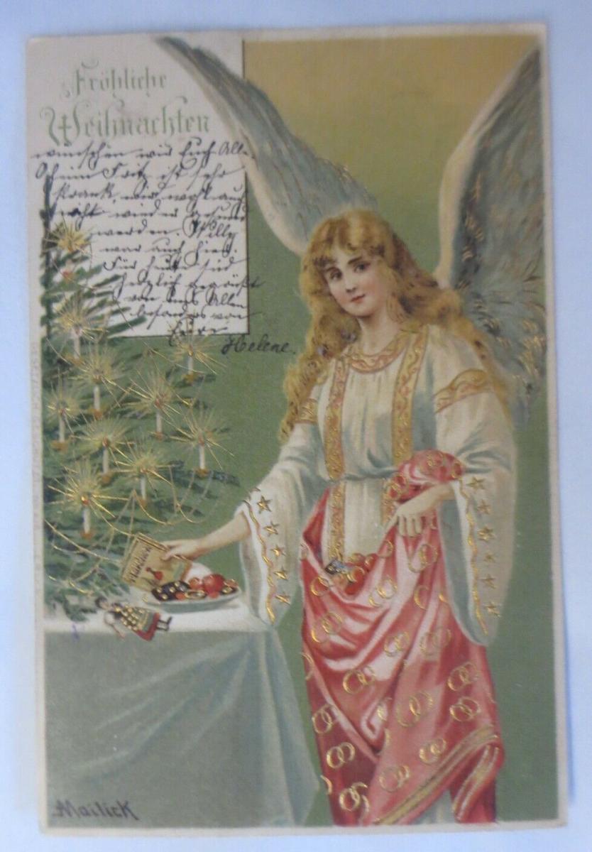 Weihnachten, Engel, Weihnachtsbaum, Süßes, 1903, Golddruck, Mailick ♥ (51021) 0