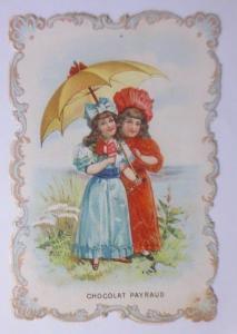 Kaufmannsbilder, Oblaten, Chocolat Raverat Jeune, Kinder, Mode 1900 ♥