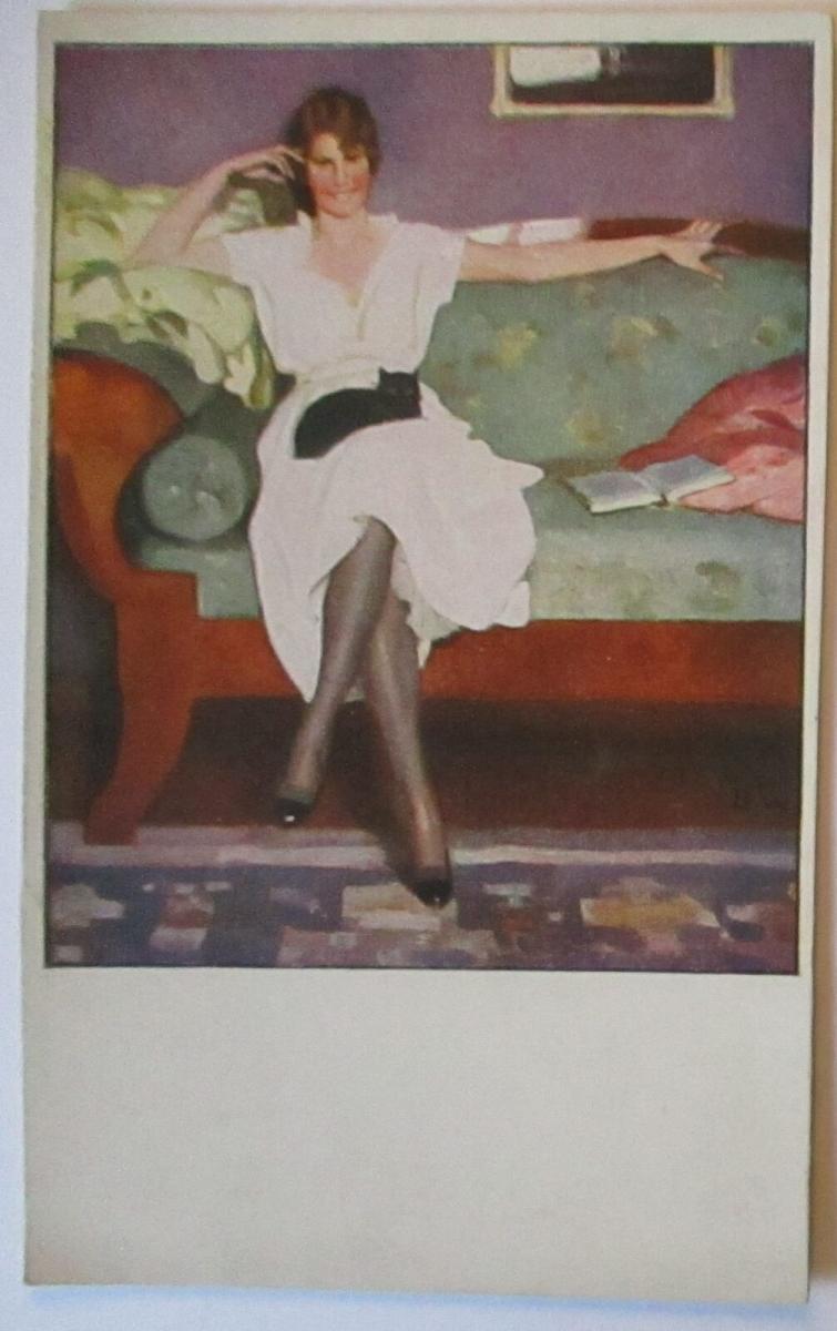 Künstlerkarte, Frau auf Sofa, unsigniert (51707) 0