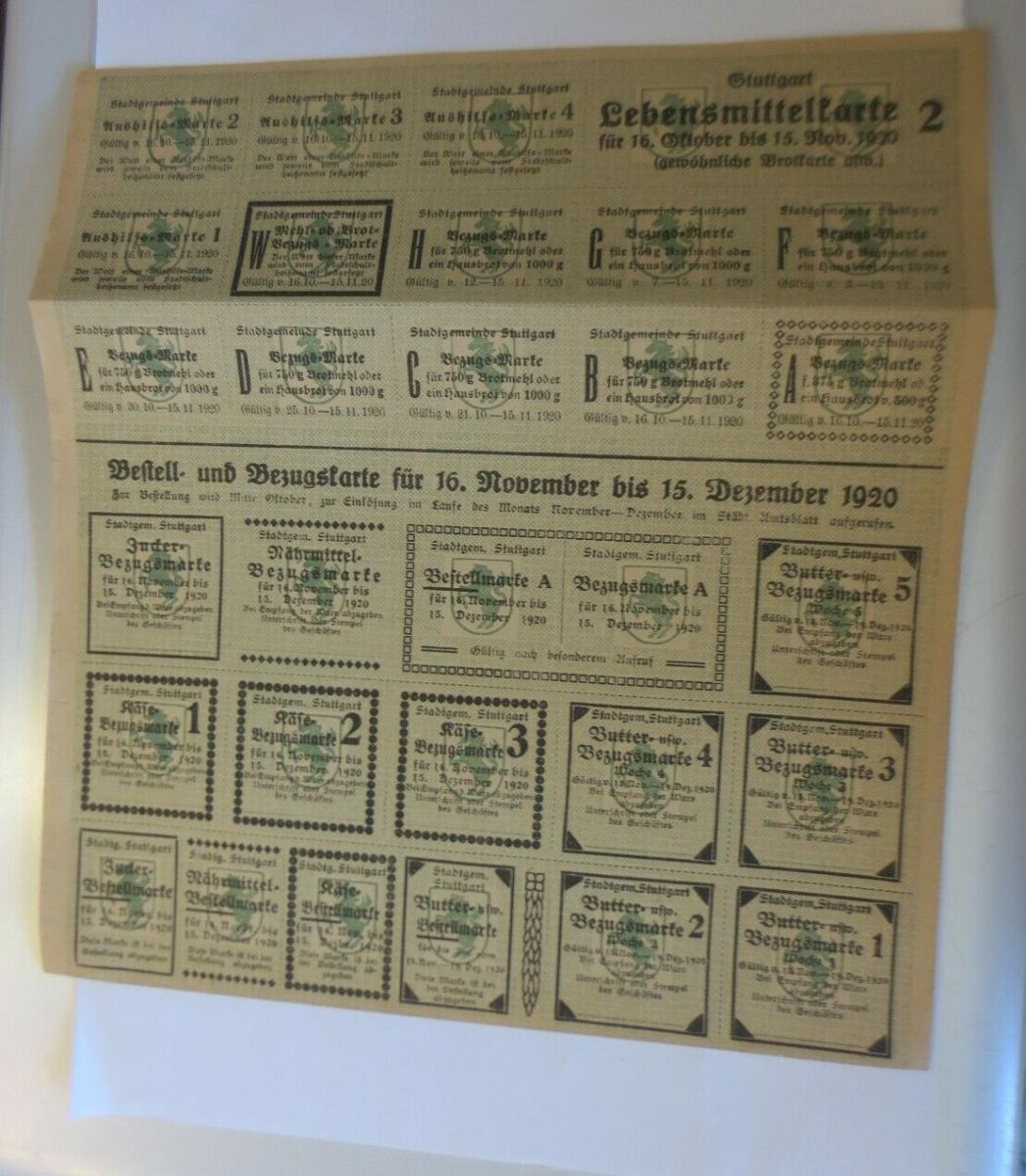 Lebensmittelkarten, Stadt Stuttgart Käse, Butter,  1920 ♥ (X175) 0