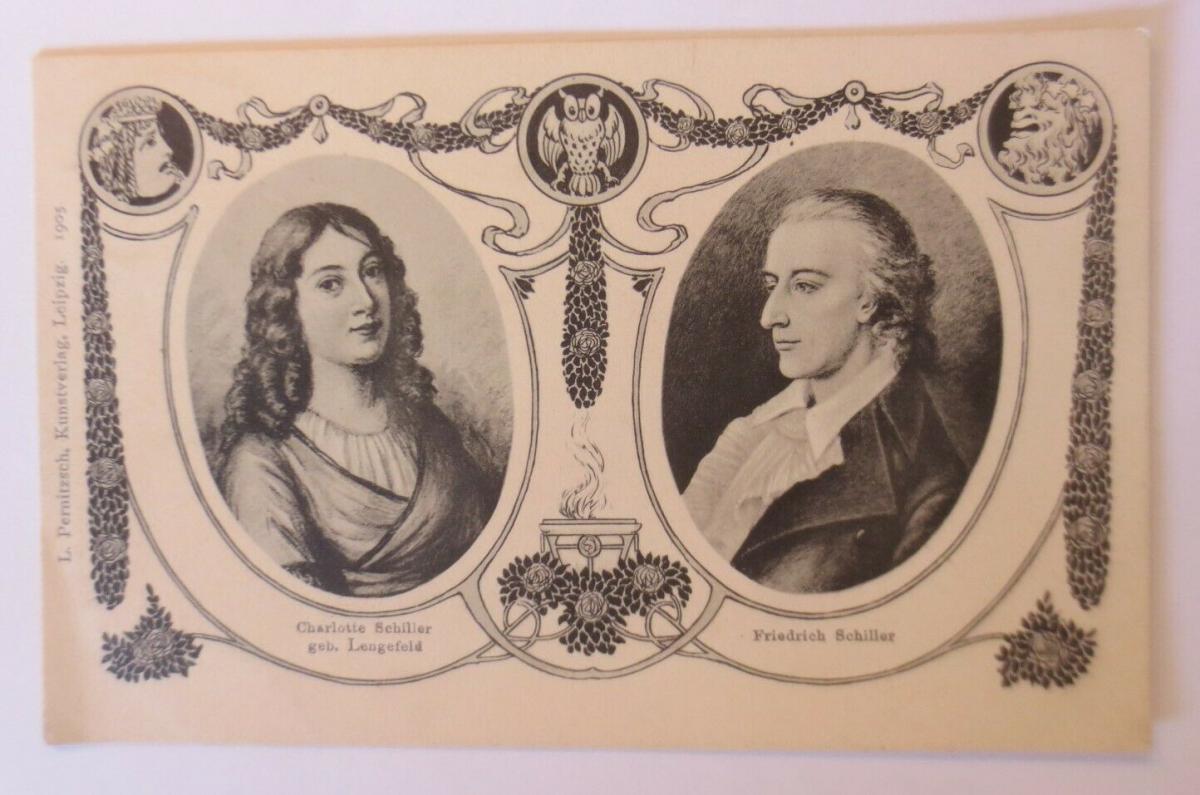 Künstlerkarte, Charlotte und Friedrich Schiller  Biedermeier, 1905 ♥ (41245) 0
