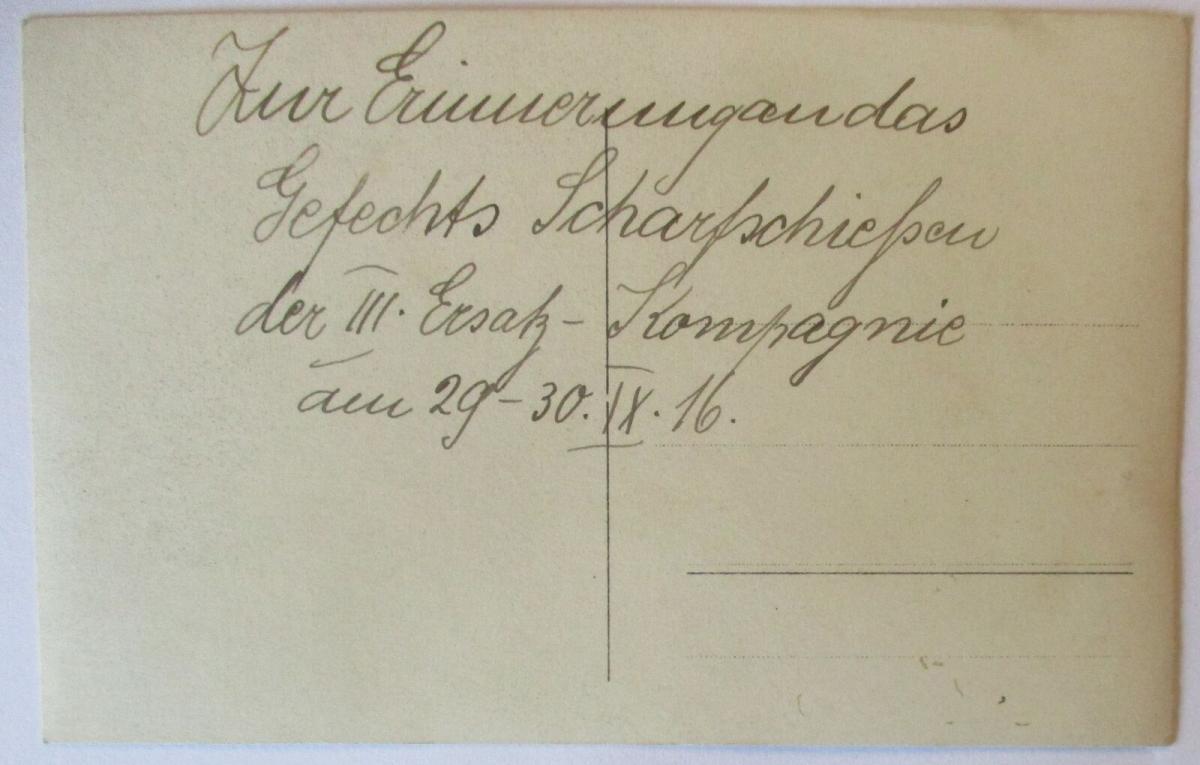 Scharfschützen Sniper, III. Ersatz Komp. Fotokarte mit Text 1916 (19285) 1