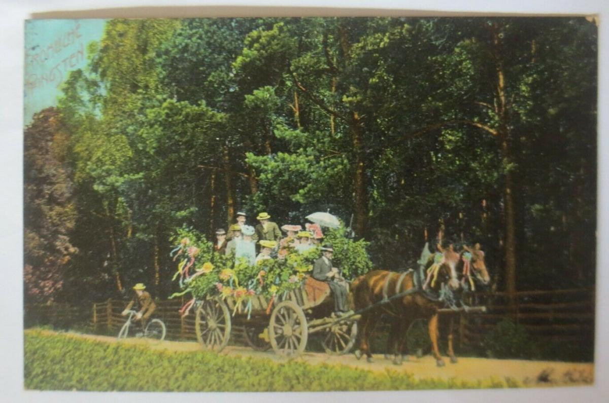 Pfingsten, Kutsche, Männer, Frauen, Ausflug, Fahrrad, 1906 ♥ (31751) 0