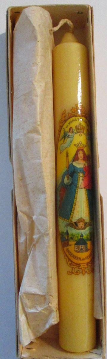 Kloster Kevelaer, 2 alte original Kerzen 19 cm lang ca.50er Jahre OVP 1