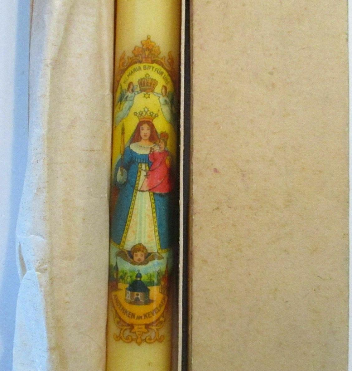 Kloster Kevelaer, 2 alte original Kerzen 19 cm lang ca.50er Jahre OVP 3