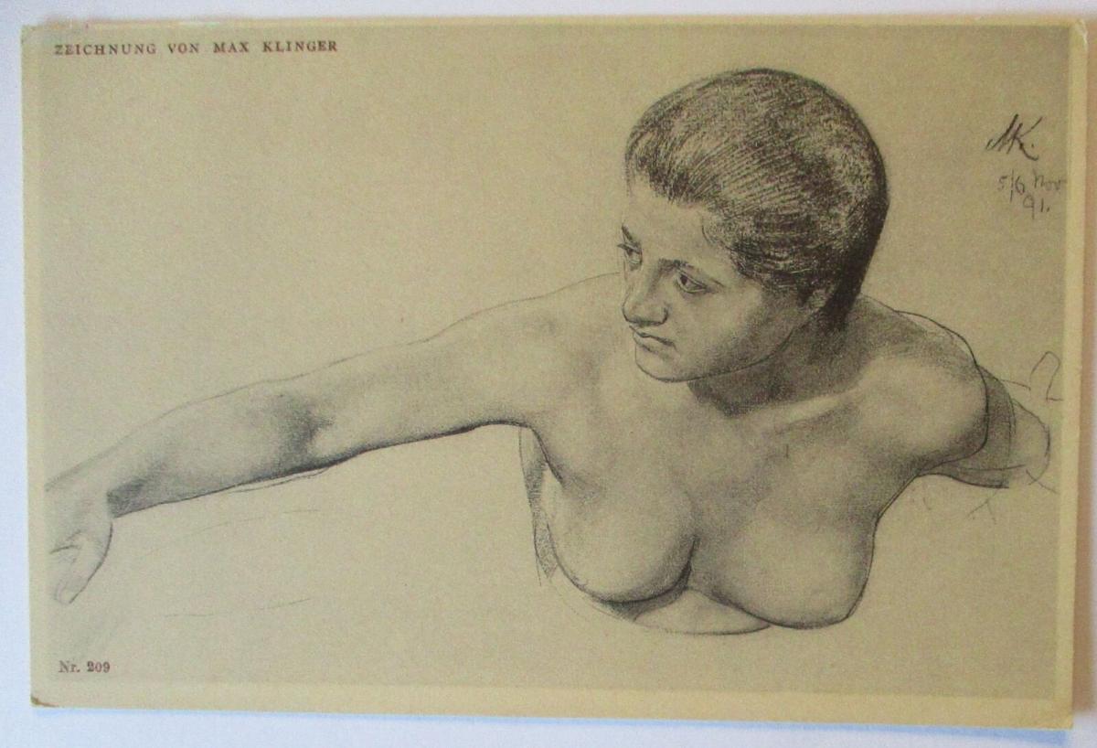 Erotik Künstlerkarte Max Klinger, Verlag Seemann in Leipzig (40117) 0